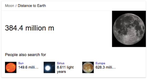 Distance of moon from earth in meters - Google Knowledge Graph