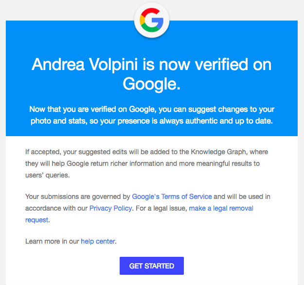The email from The Google Search Team after being verified.