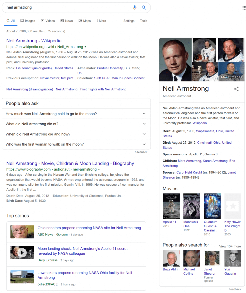 SERP result displaying rich snippets of Neil Armstrong