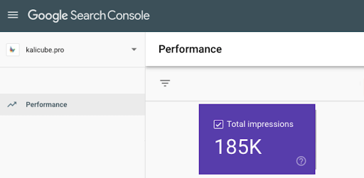 Example: compare my brand SERP impressions above with the total impressions of my website