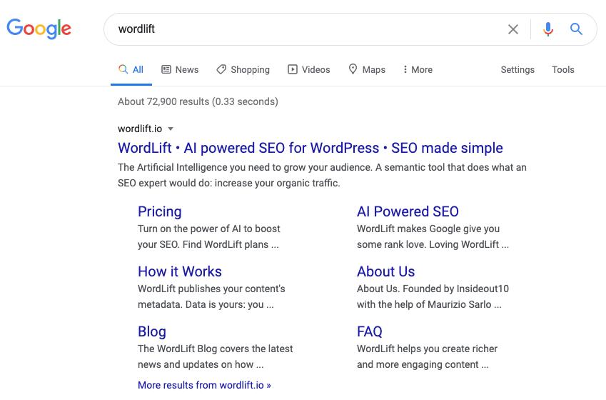 Sitelink on WordLift's brand SERP