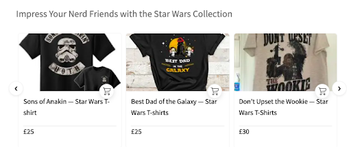 Product Navigator with Star Wars Themed T-shirts